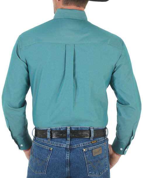 Wrangler Men's George Strait Button Down Long Sleeve Shirt, Turquoise, hi-res