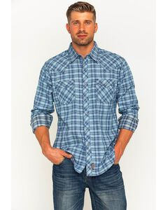 Wrangler Retro Men's Plaid with Overprint Premium Long Sleeve Snap Shirt, Blue, hi-res