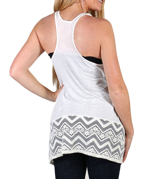Shyanne Women's Wild Dream Lace Trim Tank Top, Ivory, hi-res