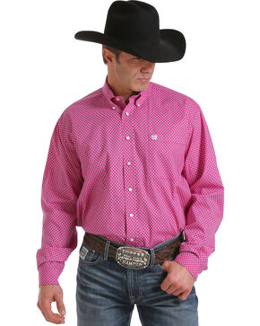 Cinch Men's Fuchsia Long Sleeve Mini Print Shirt , Fuchsia, hi-res