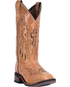 Laredo Women's Tan Cowgirl Boots - Square Toe  , Tan, hi-res