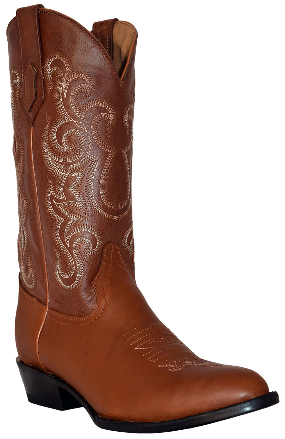 Ferrini Men's French Calf Leather Cowboy Boots - Round Toe, Cognac, hi-res