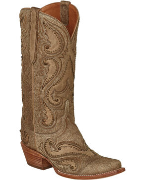 Lucchese Natural Lyla Calf Hair Cowgirl Boots - Snip Toe , Natural, hi-res