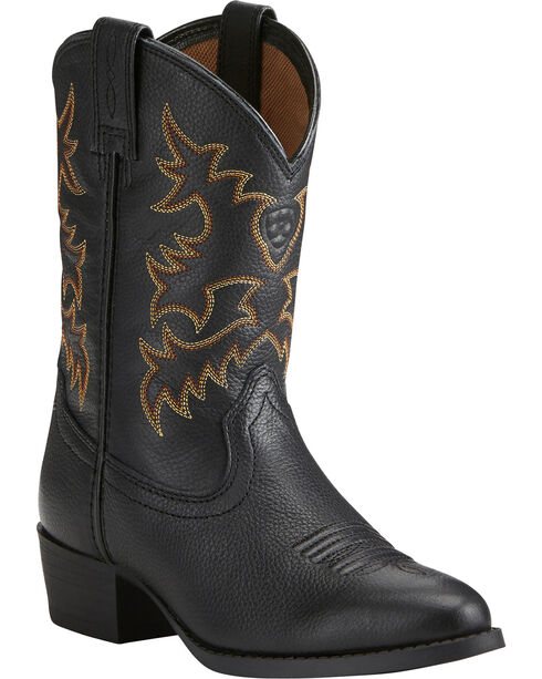 Ariat Boys' Heritage Western Cowboy Boots - Round Toe, Black, hi-res
