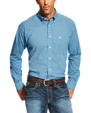 Ariat Men's Fraiser Long Sleeve Button Down Shirt - Big , Blue, hi-res