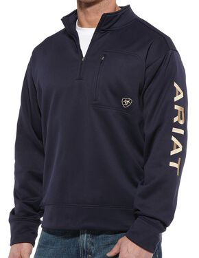 Ariat Tek 1/4 Zip Fleece Pullover, Navy, hi-res