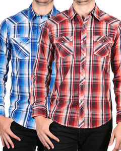 Ely Cattleman Men's 1878 Assorted Accented Stitching Western Plaid Shirt, Multi, hi-res
