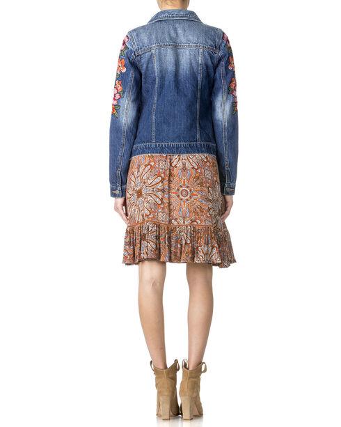 Miss Me Women's Floral Embroidered Denim Jacket , Indigo, hi-res