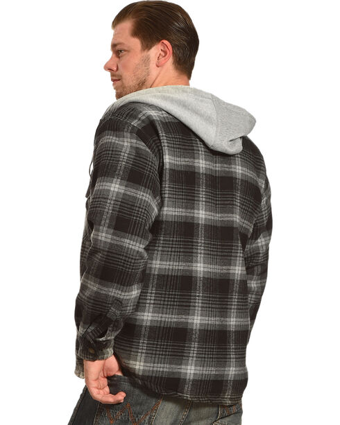 Victory Rugged Wear Men's Hooded Flannel Snap Shirt Jacket, Grey, hi-res