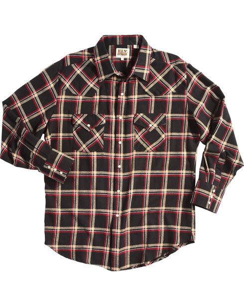 Ely Cattleman Men's Black Western Flannel Shirt - Tall , Black, hi-res
