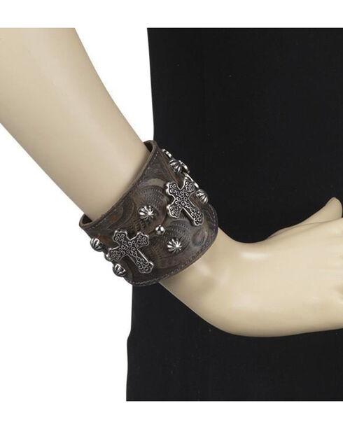 American West Women's Brown Wide Cuff Cross Bracelet , Distressed Brown, hi-res