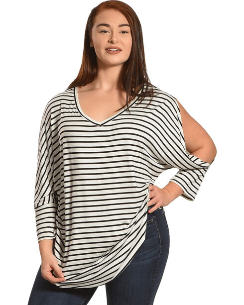 Eyeshadow Women's Plus Striped Cold Shoulder Dolman Top, Black, hi-res