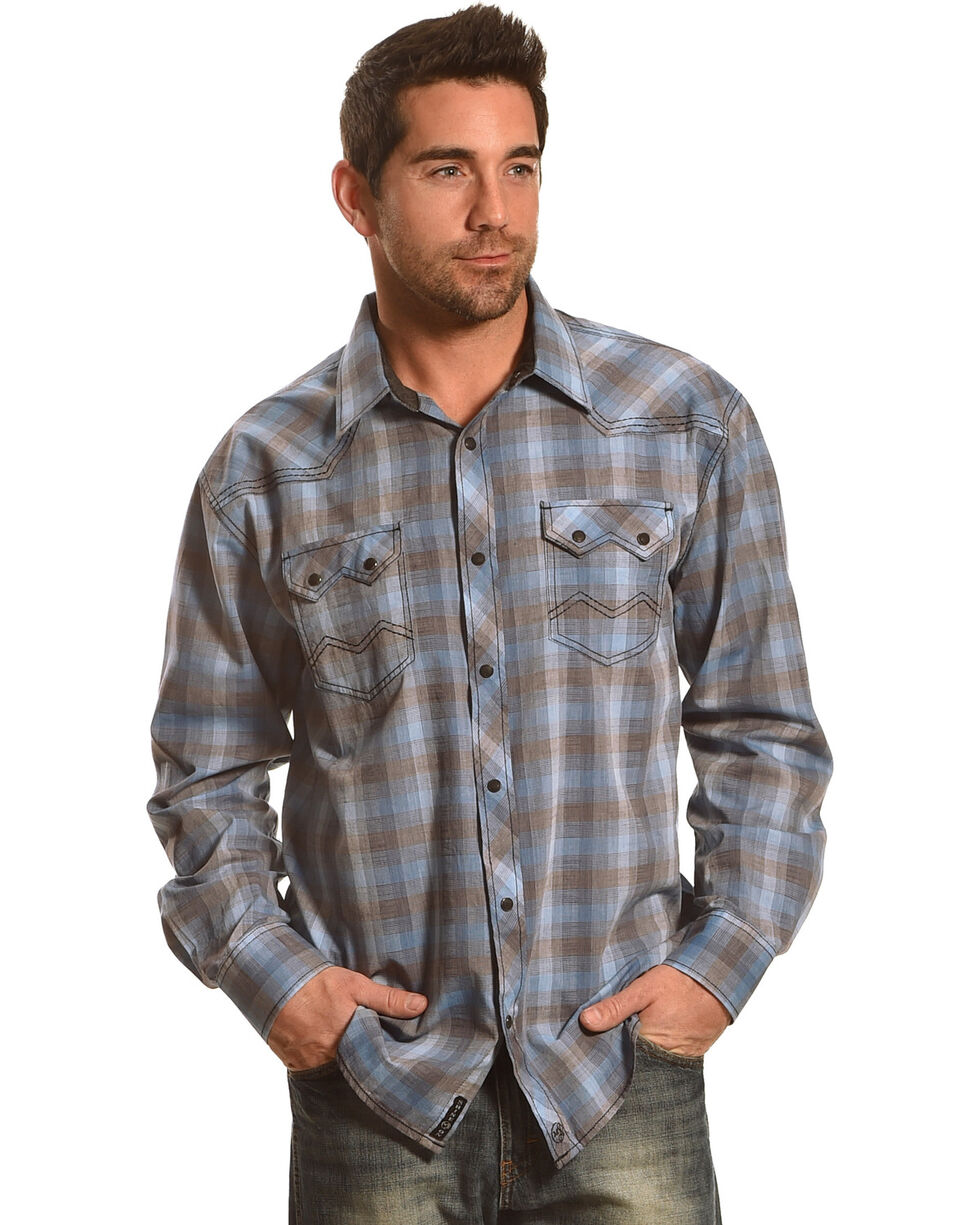 Moonshine Spirit Men's Ombre Bootlegger Long Sleeve Western Shirt, Grey, hi-res