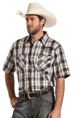 Jack Daniel's Men's Black and White Plaid Short Sleeve Western Shirt , , hi-res