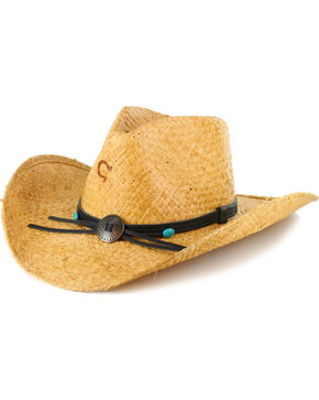 Charlie 1 Horse Concho Straw Cowgirl Hat, Lt Brown, hi-res