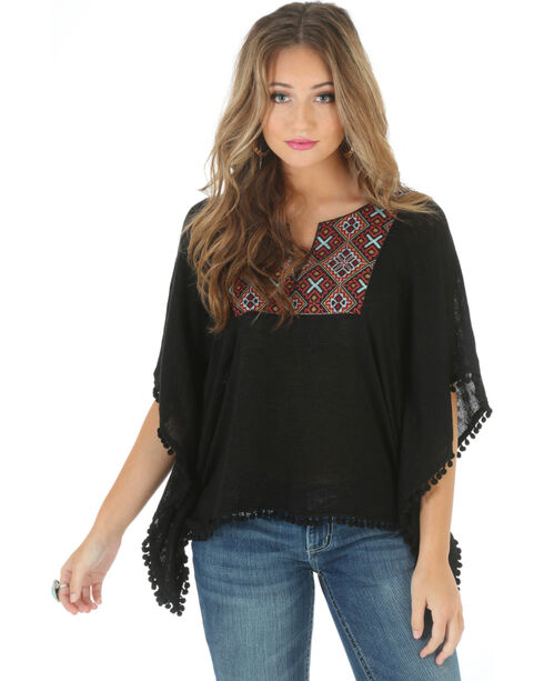 Wrangler Rock 47 Women's Applique Pom Pom Poncho, Black, hi-res