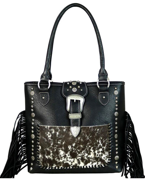 Trinity Ranch Women's Black Hair-On Leather Concealed Carry Tote , Black, hi-res