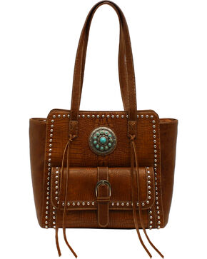 Blazin Roxx Charlotte Collection Concho Tote, Brown, hi-res