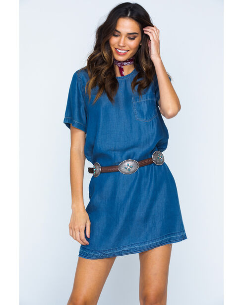 Glam Women's Heritage Tencel Raw Hem Pocket Dress , Dark Blue, hi-res