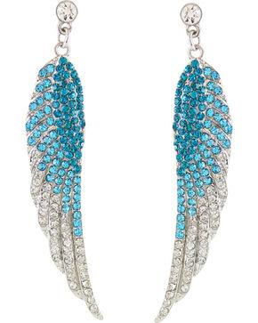 Shyanne Women's Rhinestone Wing Earrings, Turquoise, hi-res