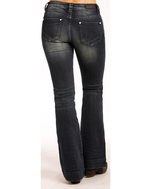 Rock & Roll Cowgirl Women's Dark Wash High Rise Trouser Jeans - Boot Cut , Indigo, hi-res