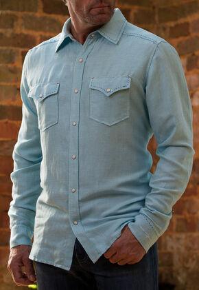 Ryan Michael Men's Blue Pool Western Shirt, Blue, hi-res