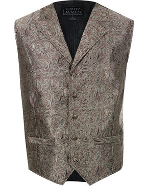 Cody James Men's Paisley 5-Button Vest, Brown, hi-res