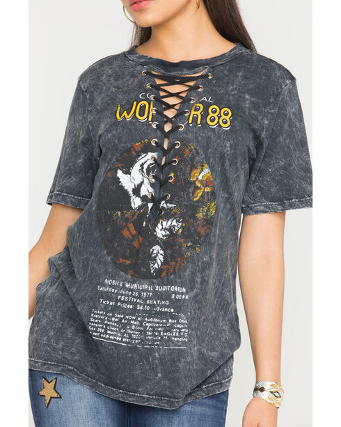 Obsessive Love Women's Charcoal Washed Lace-Up World Tour T-Shirt, Charcoal, hi-res