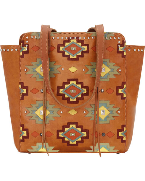 American West Women's Adobe Allure Zip-Top Tote, Tan, hi-res