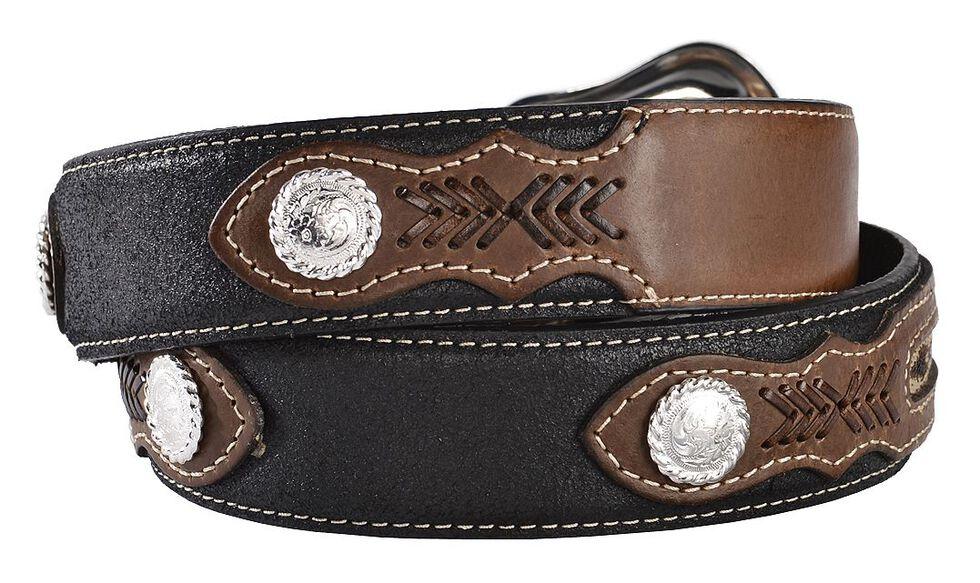 Nocona Ribbon Inlay Leather Belt - Reg & Big, Black, hi-res