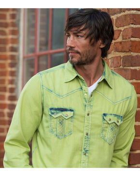 Ryan Michael Men's Avocado Tinted Indigo Shirt , Green, hi-res