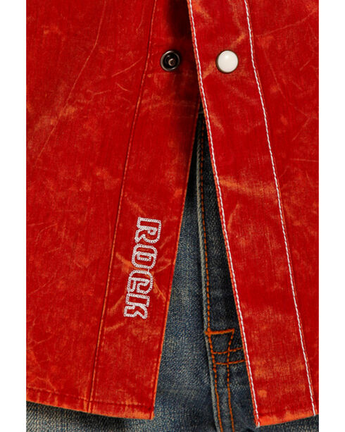 Rock & Roll Cowboy Men's Solid Rust Contrast Stitching Western Shirt , Red, hi-res