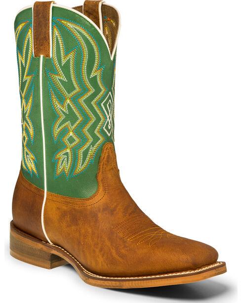 """Nocona Men's 11"""" Green Multi-Color Stitch Cowboy Boots - Square Toe, Tan, hi-res"""