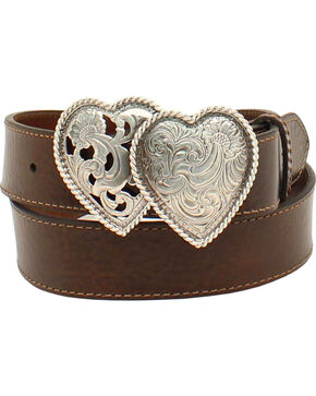 Ariat Women's Leather Double Hearts Belt , Brown, hi-res