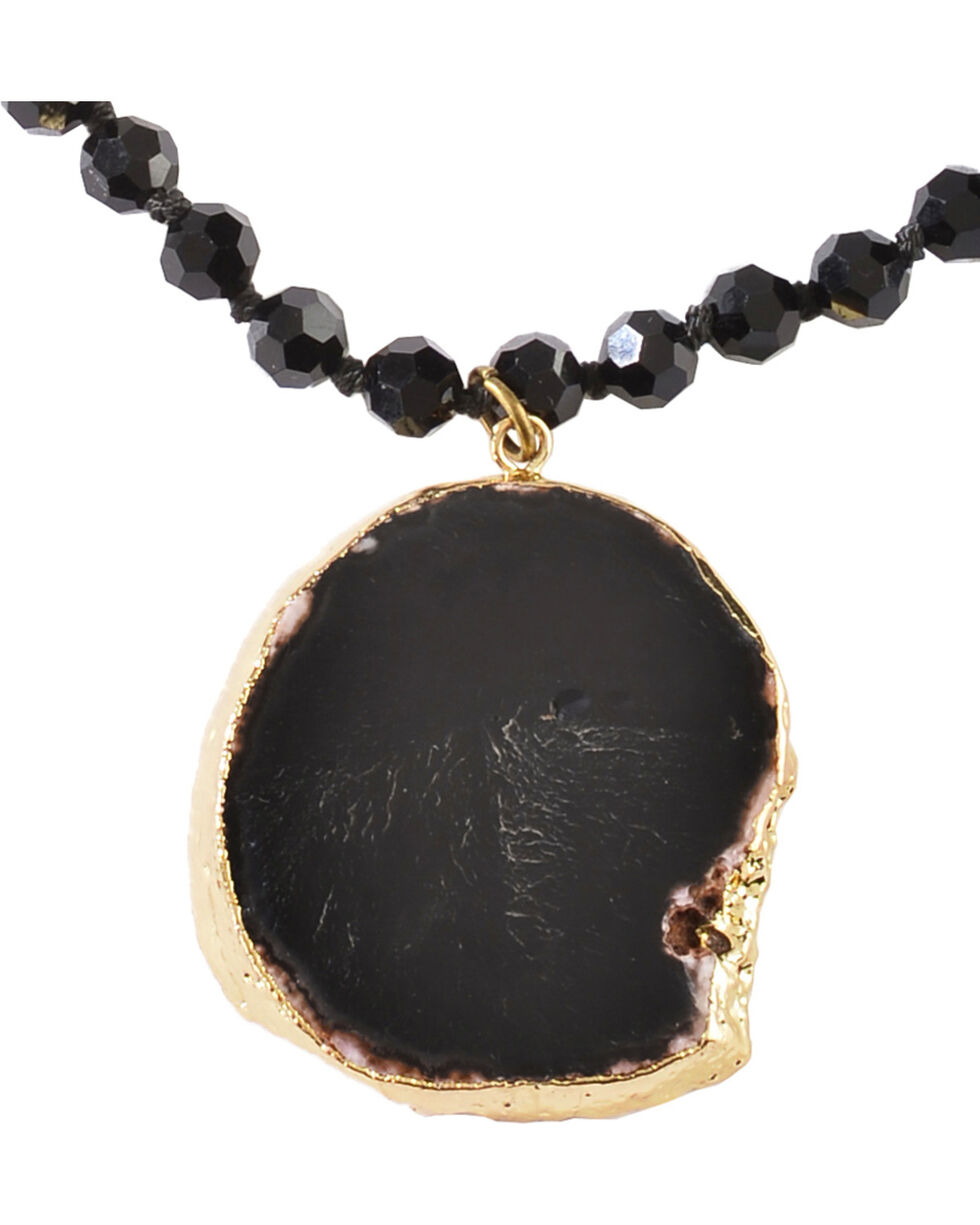 Jewelry Junkie Black Faceted Glass Beaded Necklace with Black Agate Slab, Black, hi-res