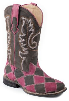 Roper Girls' Pink & Brown Patchwork Cowgirl Boots, Pink Check, hi-res