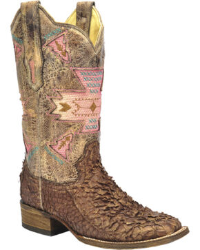 Corral Gnarly Fish Skin Cowgirl Boots - Square Toe, Brown, hi-res