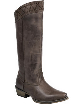 "Roper Brown Embroidered 15"" Cowgirl Boots - Snip Toe , Brown, hi-res"