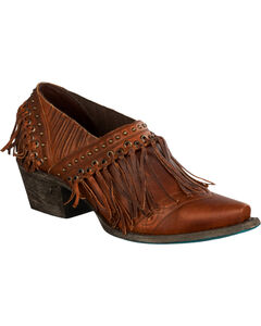 Lane Women's Brown Fringe Fries Shoes - Snip Toe , , hi-res