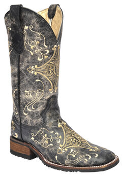 Circle G Black Crackle Embroidered  Cowgirl Boots - Square Toe , , hi-res