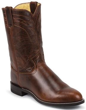 Justin Dark Brown Roper Cowboy Boots - Round Toe , Brown, hi-res