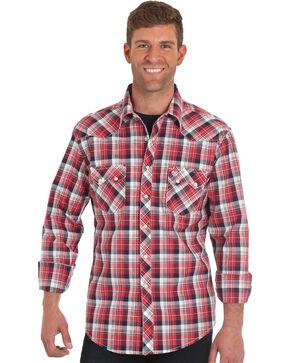 Wrangler Men's Retro Red Long Sleeve Plaid Shirt - Tall , Red, hi-res