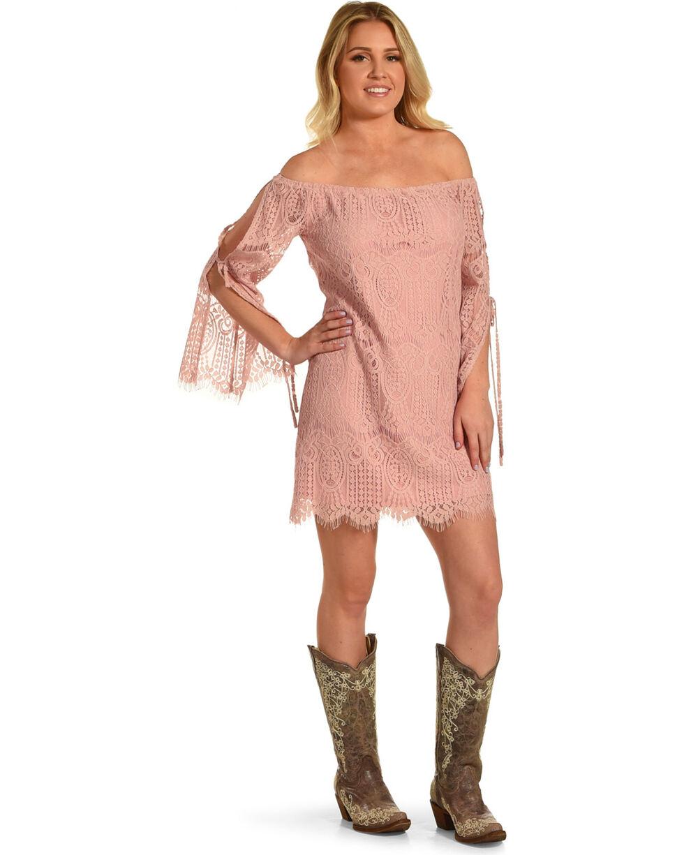 Young Essence Women's Lace Off The Shoulder Dress, Mauve, hi-res