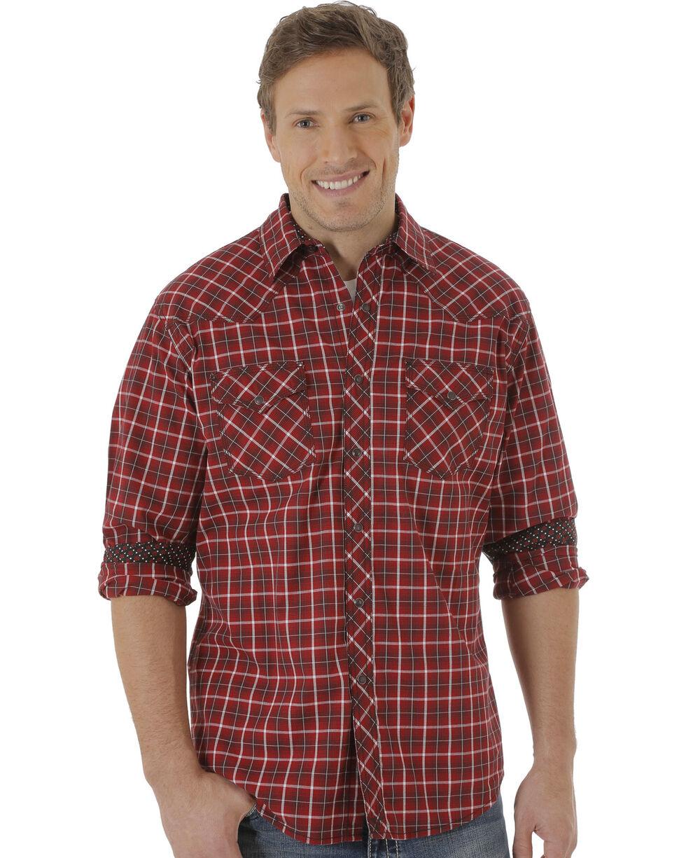 Wrangler Men's Dark Red Plaid 20X Western Shirt, Red, hi-res