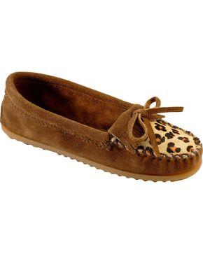 Women's Minnetonka Leopard Kilty Moccasins, Dusty Brn, hi-res