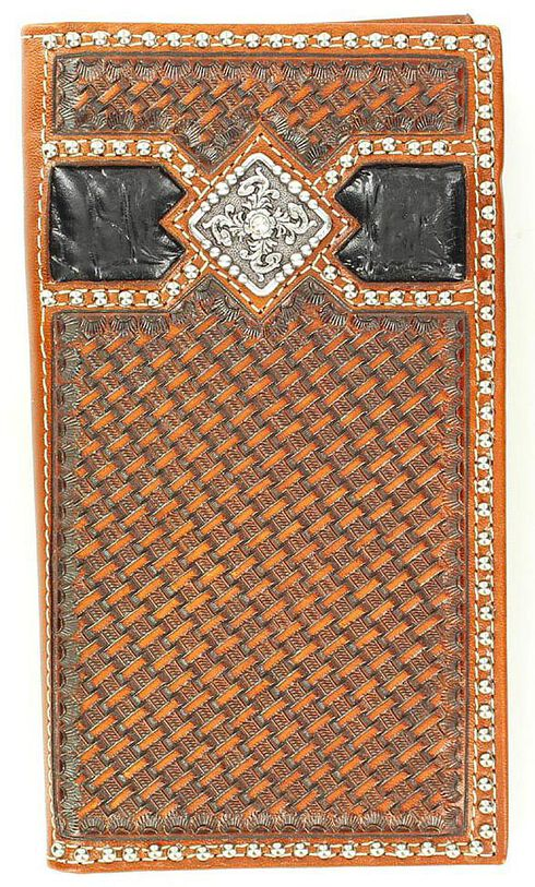 Ariat Two-Tone Basketweave Concho Rodeo Wallet, Multi, hi-res