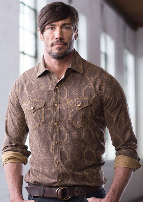 Ryan Michael Men's Aztec Silk Jacquard Shirt, Chestnut, hi-res