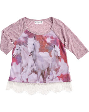 Shyanne Girls' Running Horse Long Sleeve Shirt, Purple, hi-res