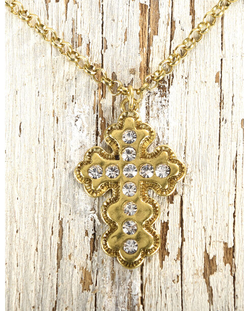 Shyanne Women's Double Layer Cross Necklace, Gold, hi-res
