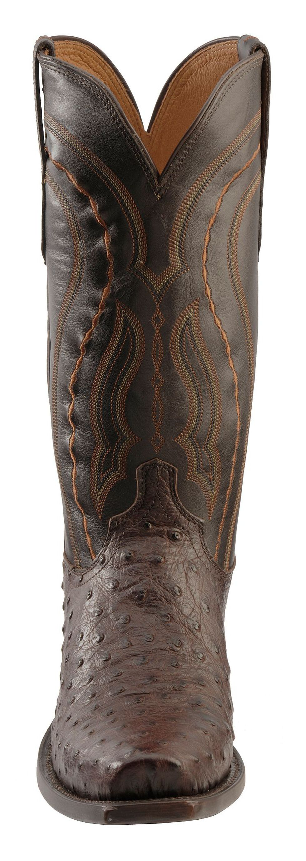 Lucchese Handcrafted 1883 Western Full Quill Ostrich Cowboy Boots - Square Toe, Sienna, hi-res